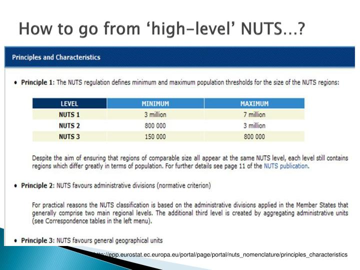 How to go from 'high-level' NUTS…?