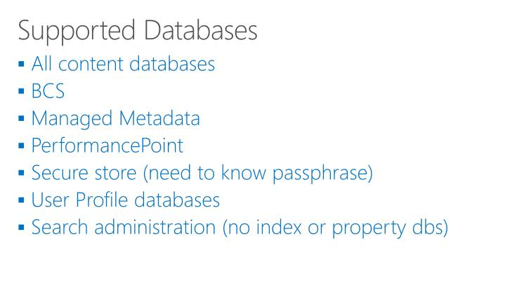 Supported Databases