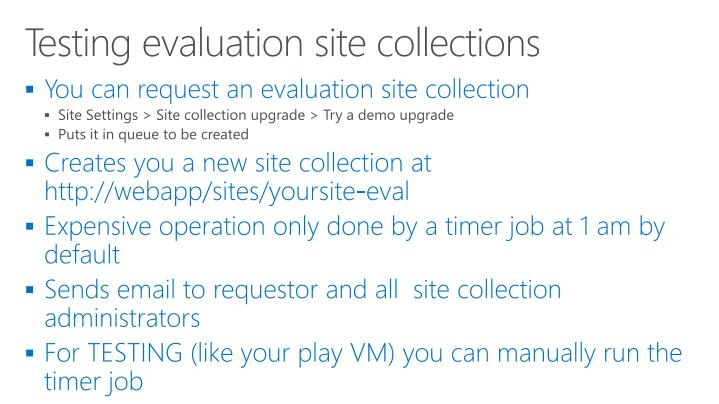 Testing evaluation site collections