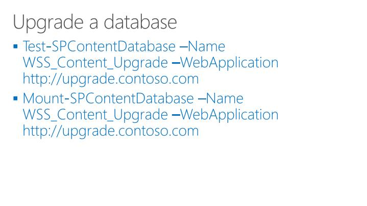 Upgrade a database