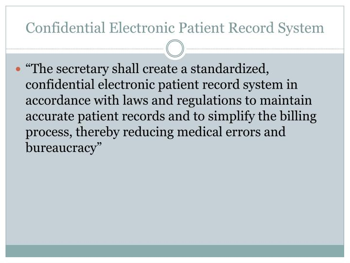 Confidential Electronic Patient Record System