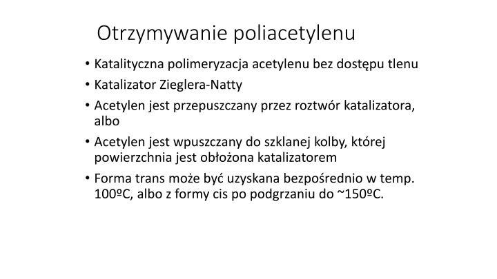 Otrzymywanie poliacetylenu