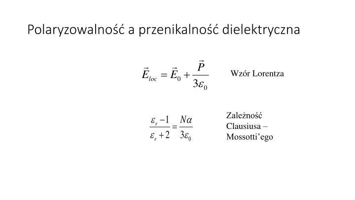 Polaryzowalność a przenikalność dielektryczna