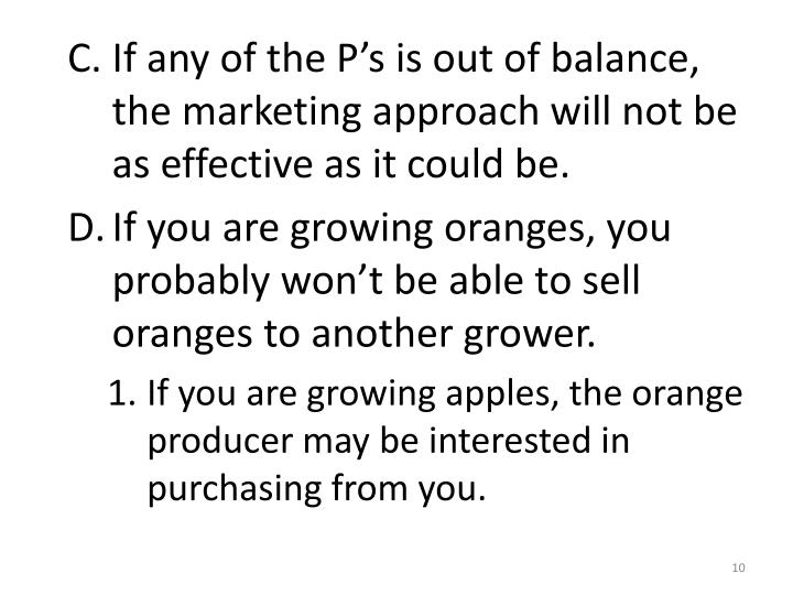 If any of the P's is out of balance, the marketing approach will not be as effective as it could be.