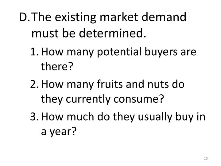The existing market demand must be determined.