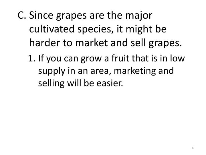 Since grapes are the major cultivated species, it might be harder to market and sell grapes.
