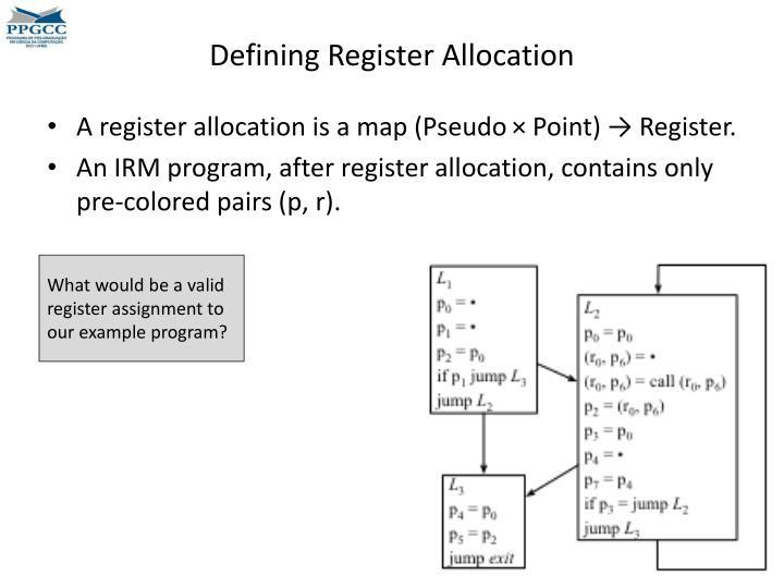Defining Register Allocation