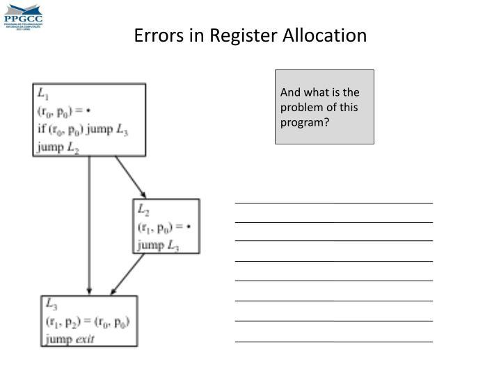 Errors in Register Allocation