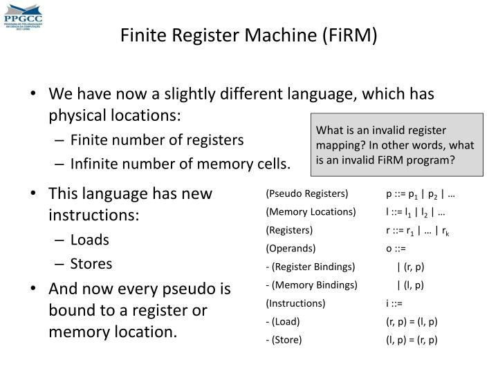 Finite Register Machine (
