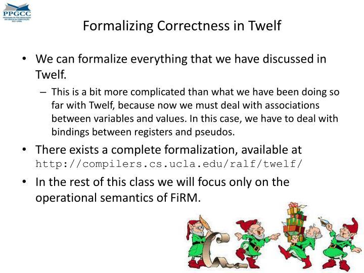 Formalizing Correctness in