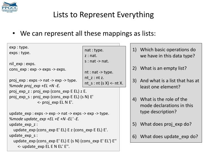 Lists to Represent Everything