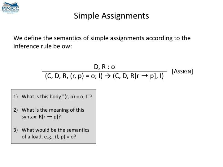 Simple Assignments