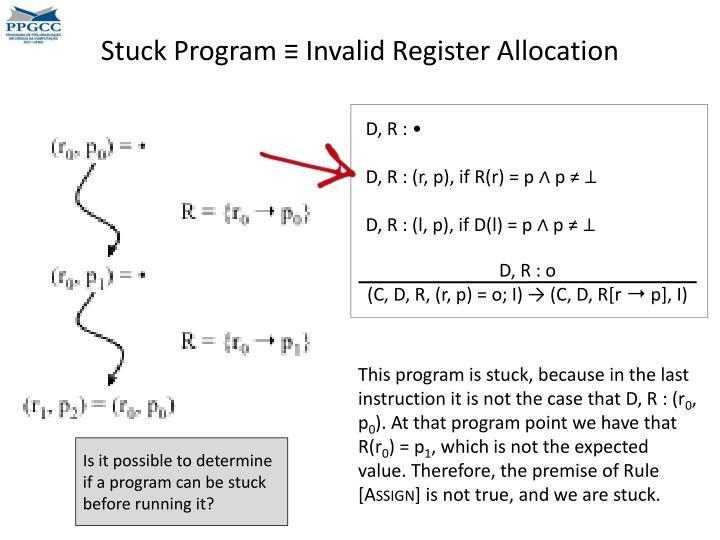 Stuck Program ≡ Invalid Register Allocation