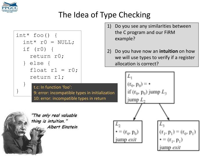 The Idea of Type Checking