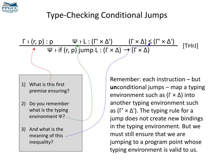 Type-Checking Conditional Jumps