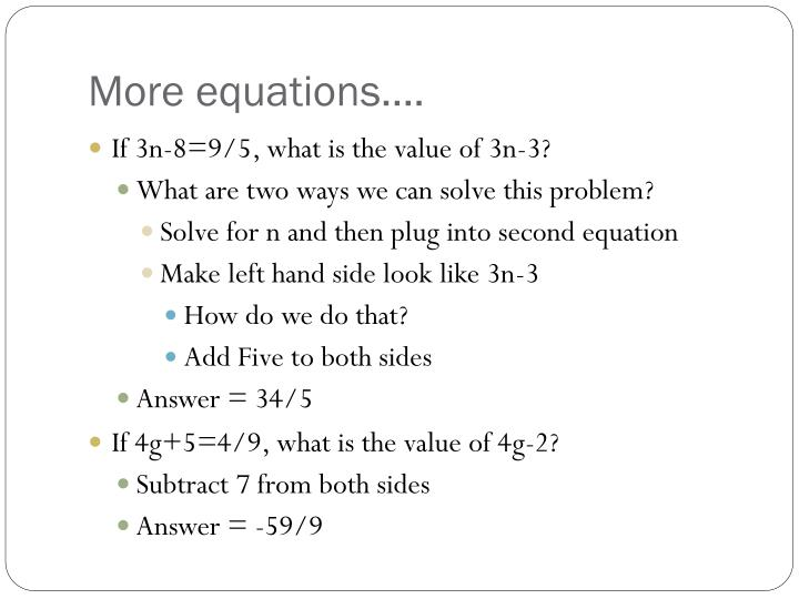 More equations….