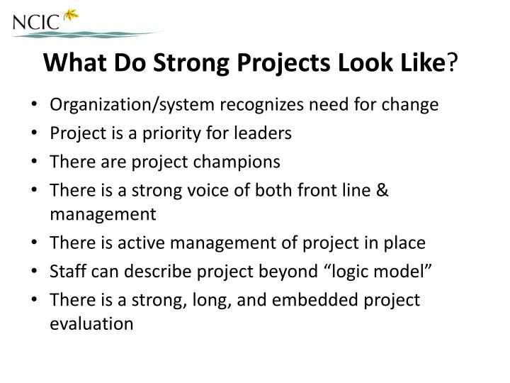 What Do Strong Projects Look Like