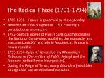 the radical phase 1791 1794
