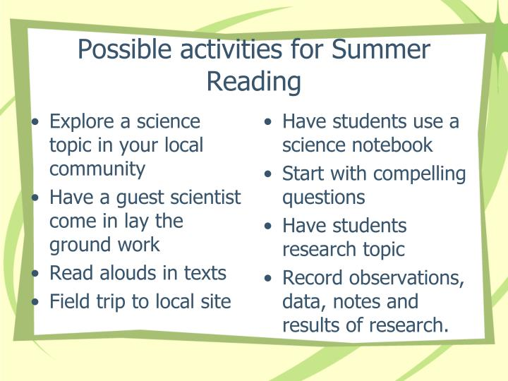 Possible activities for Summer Reading