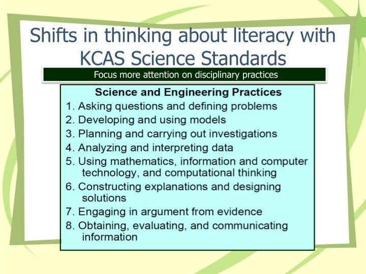 Shifts in thinking about literacy with KCAS Science Standards
