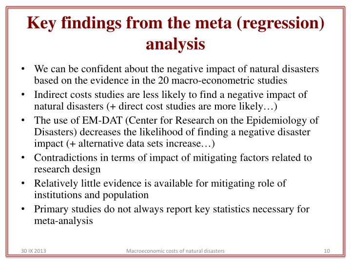 Key findings from the meta (regression) analysis