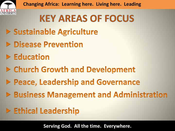 Changing Africa:  Learning here.  Living here.  Leading