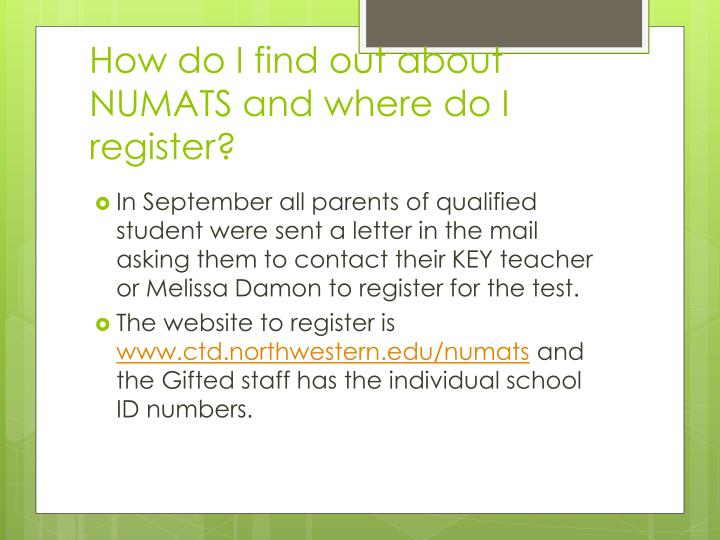 How do I find out about NUMATS and where do I register?