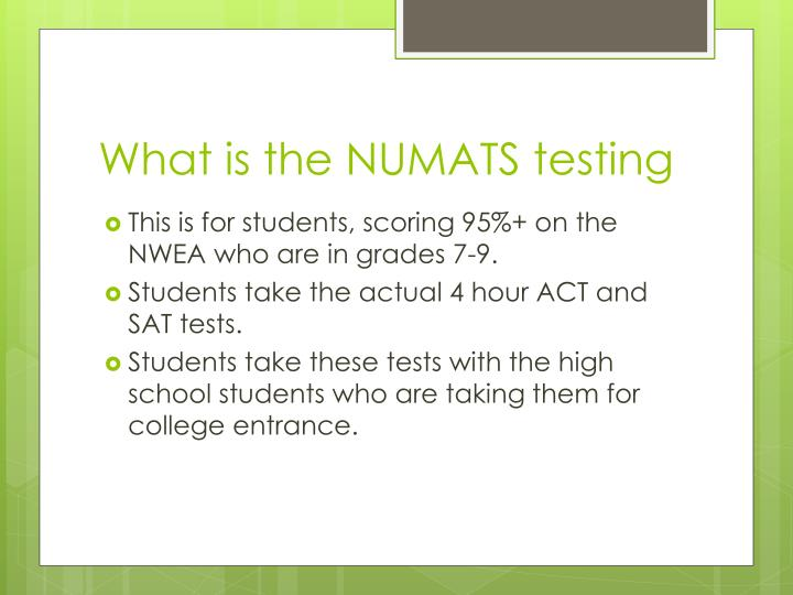 What is the NUMATS testing