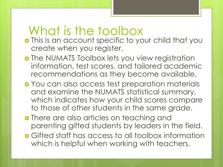 What is the toolbox