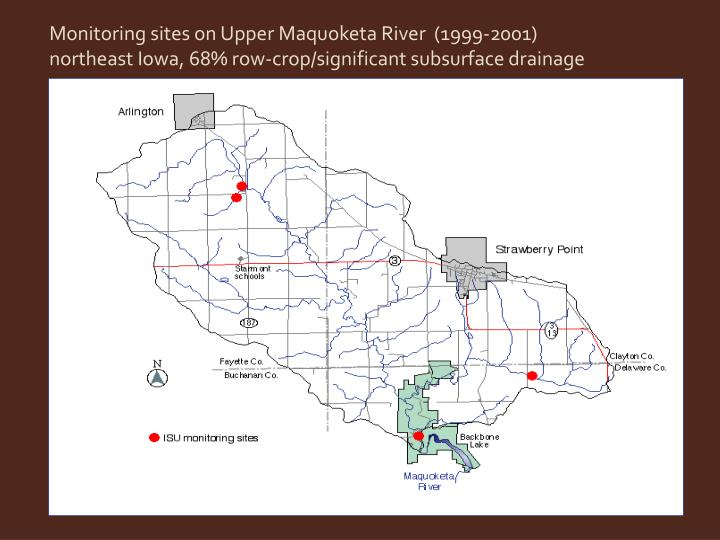 Monitoring sites on Upper Maquoketa River  (1999-2001)