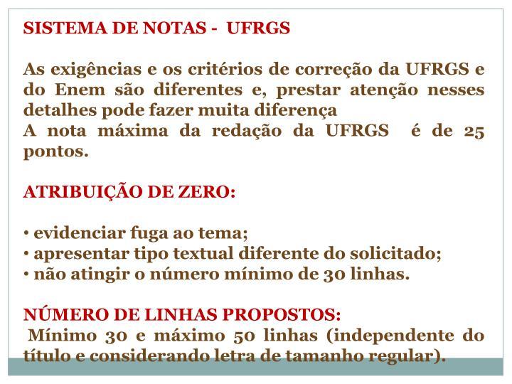 SISTEMA DE NOTAS -  UFRGS