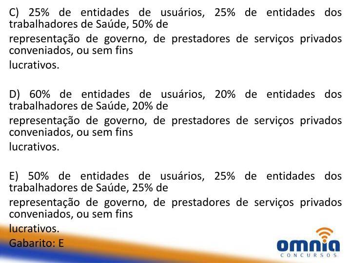 C) 25% de entidades de usuários, 25% de entidades dos trabalhadores de Saúde, 50% de