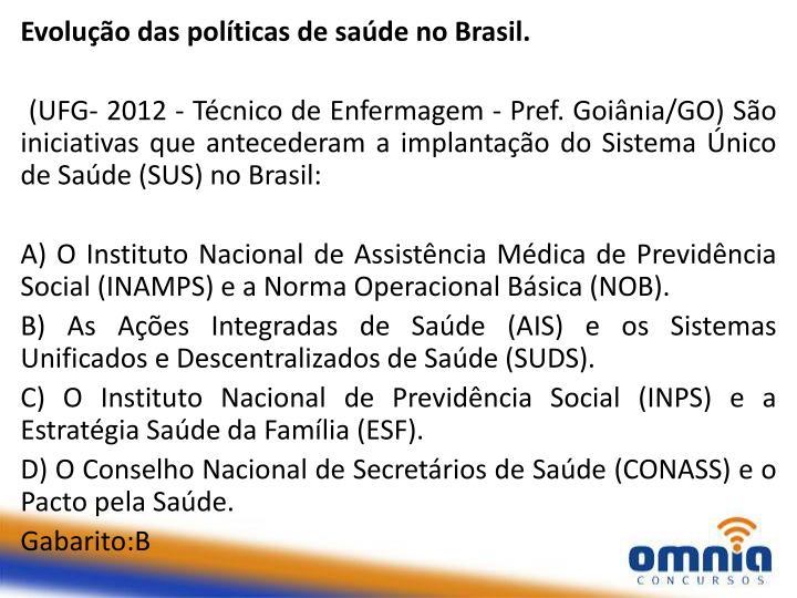 Evolução das políticas de saúde no Brasil.