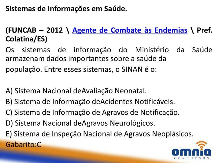 Sistemas de Informações em Saúde.