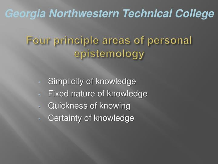 Four principle areas of personal epistemology