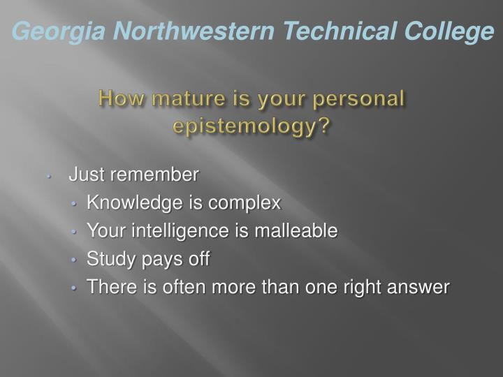 How mature is your personal epistemology?