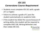 ids 101 cornerstone course requirement