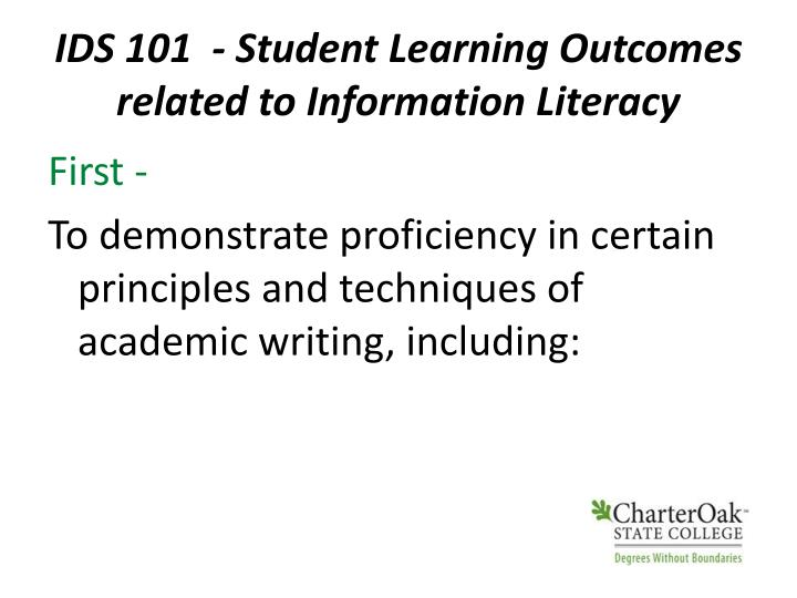 IDS 101  - Student Learning Outcomes related to Information Literacy