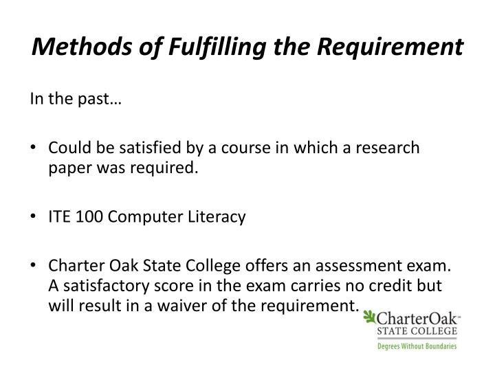 Methods of Fulfilling the Requirement
