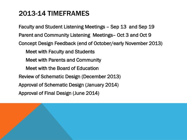 2013-14 Timeframes