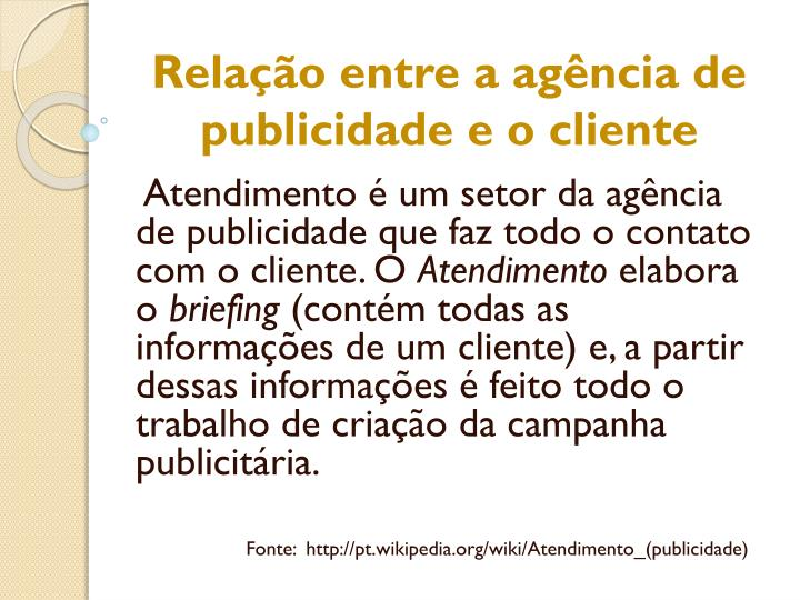 Relação entre a agência de publicidade e
