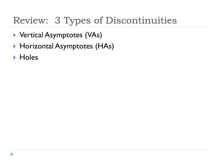 Review 3 types of discontinuities