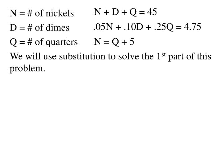 N = # of nickels