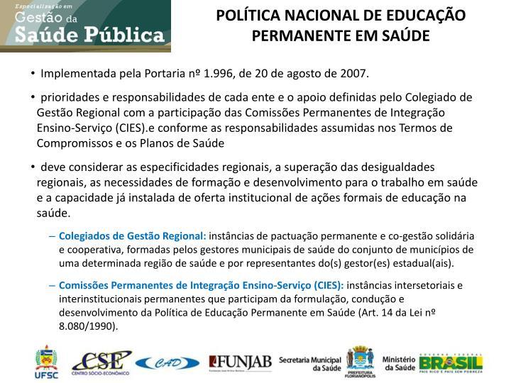 POLÍTICA NACIONAL DE EDUCAÇÃO PERMANENTE EM SAÚDE