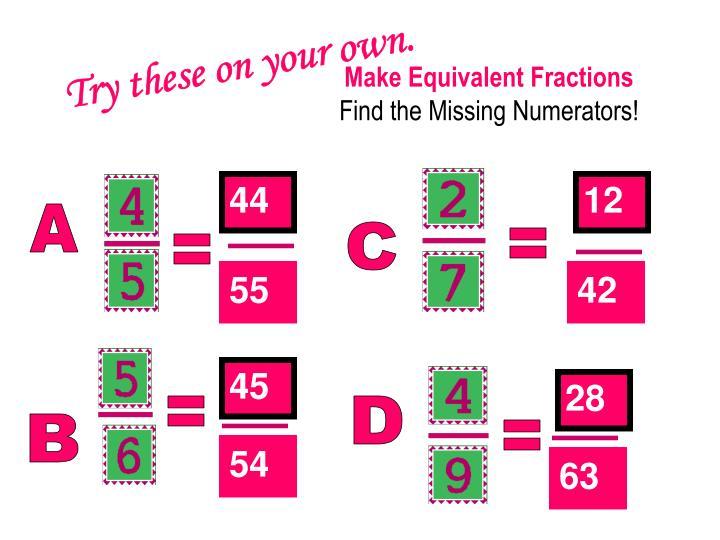 Make Equivalent Fractions