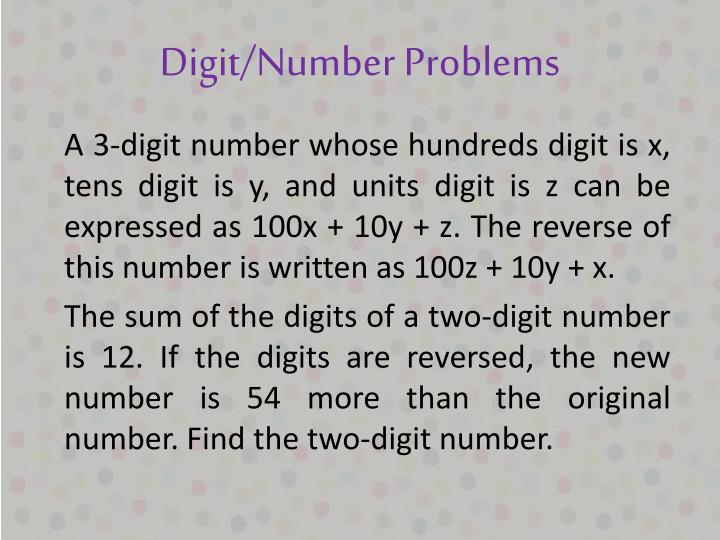 Digit/Number Problems