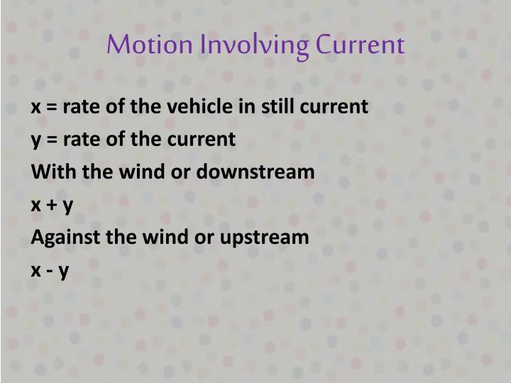 Motion Involving Current