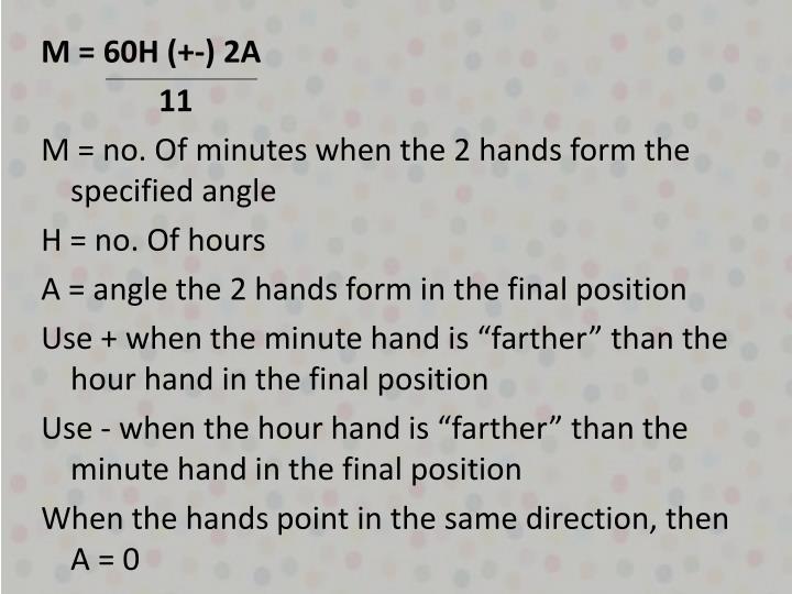 M = 60H (+-) 2A