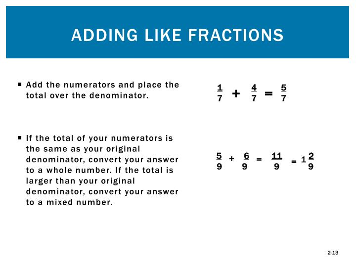 Add the numerators and place the total over the denominator.