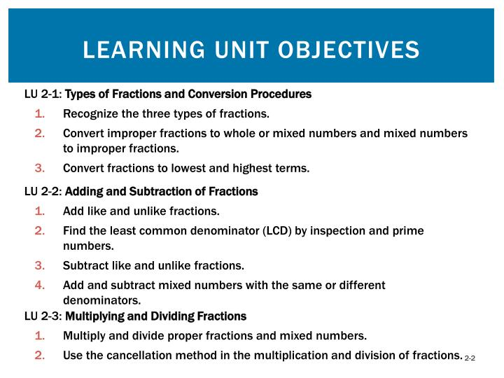 Learning unit objectives